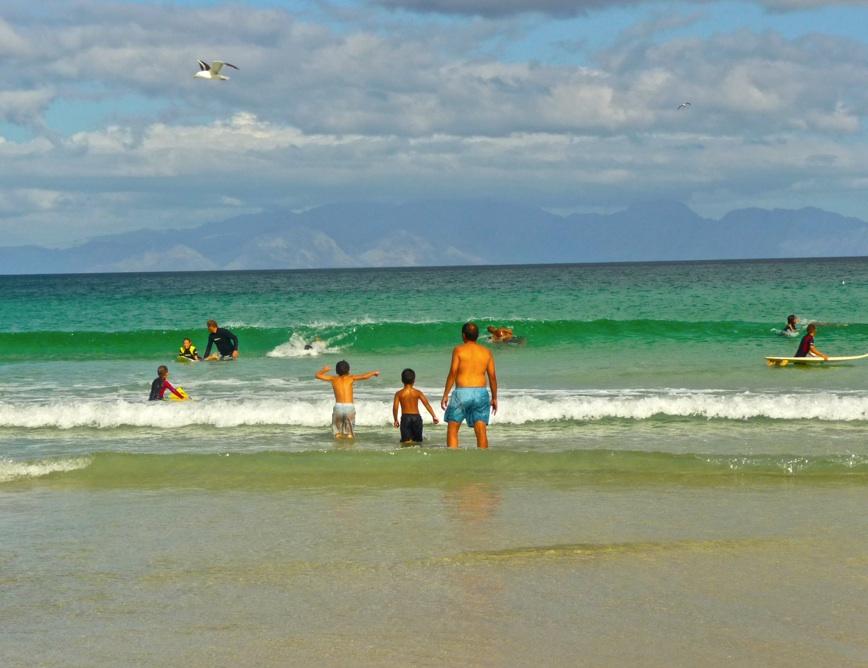 Families enjoying the beach